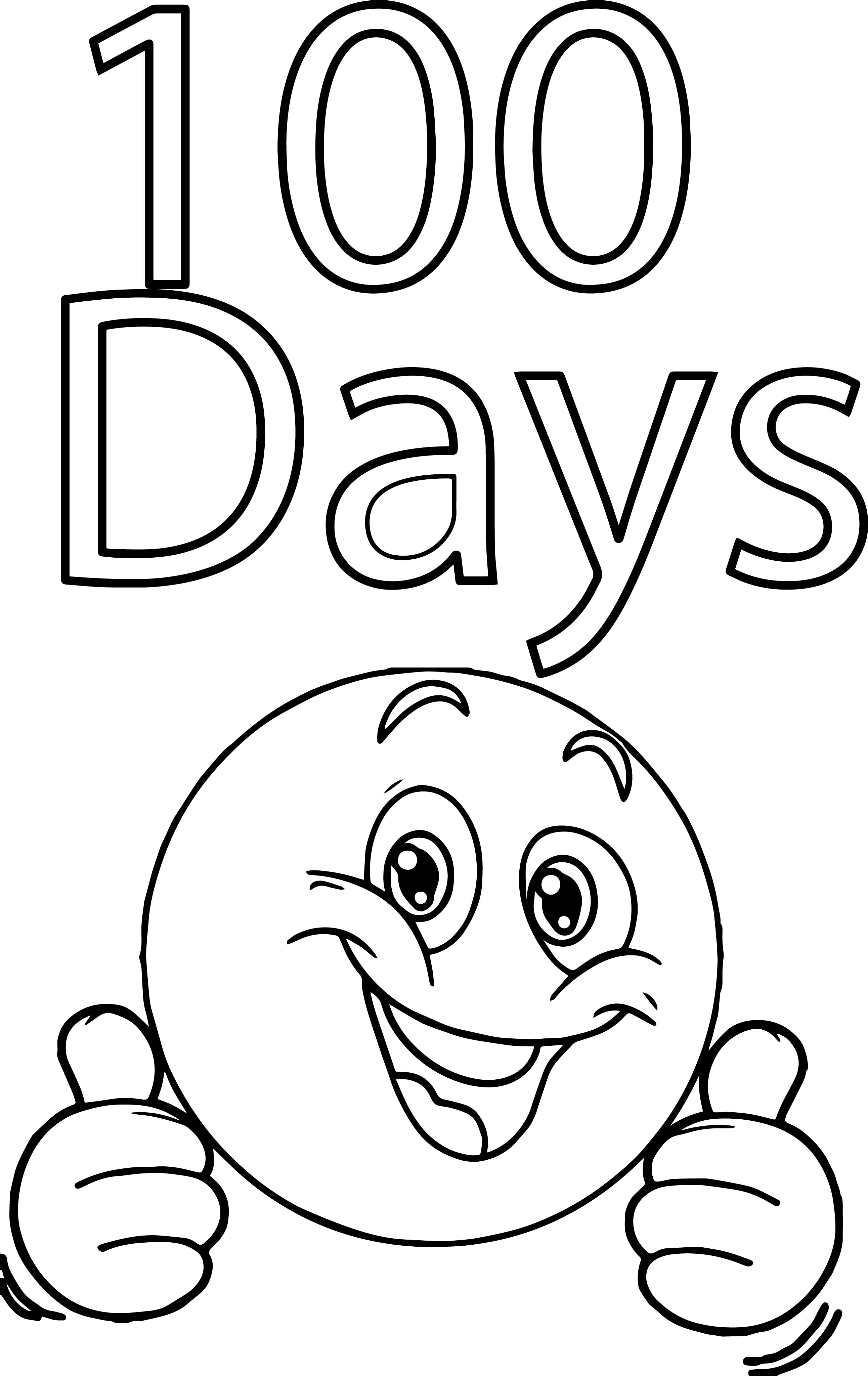 Smiley face 100 days coloring page for 100 coloring pages