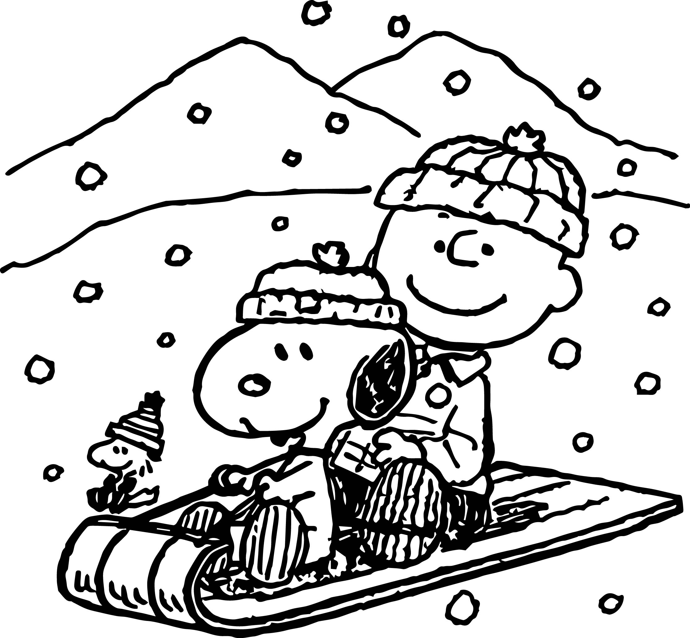 snoopy winter coloring page - Winter Coloring Pages Free