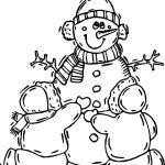 Snowman Children Winter Activity Coloring Page