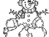 Snowman Children Winter Activity Coloring Page