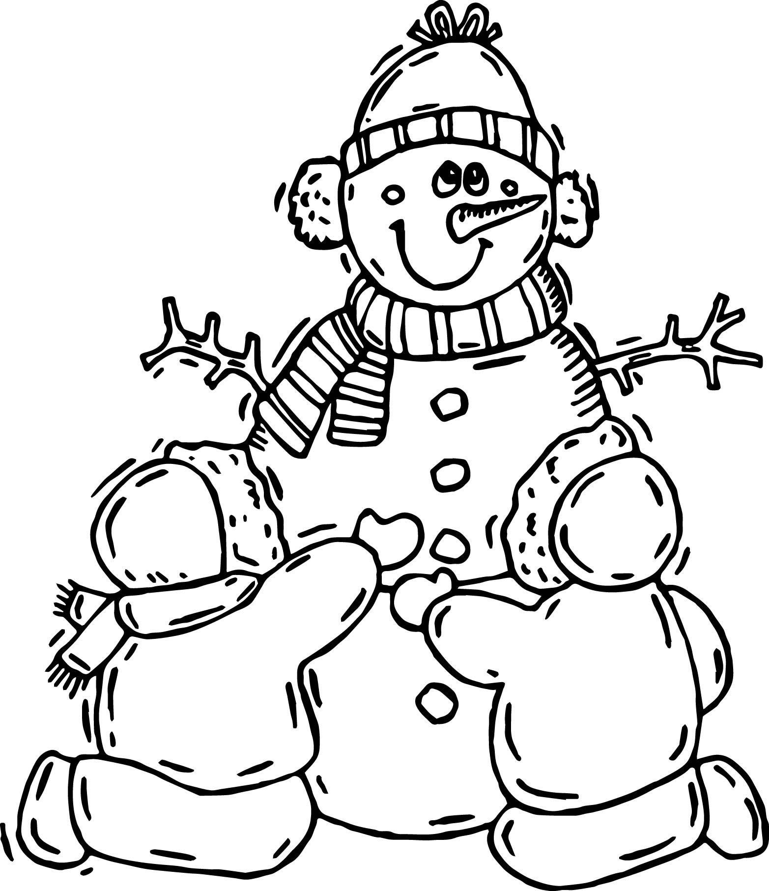Snowman children winter activity coloring page for Winter coloring pages for preschool