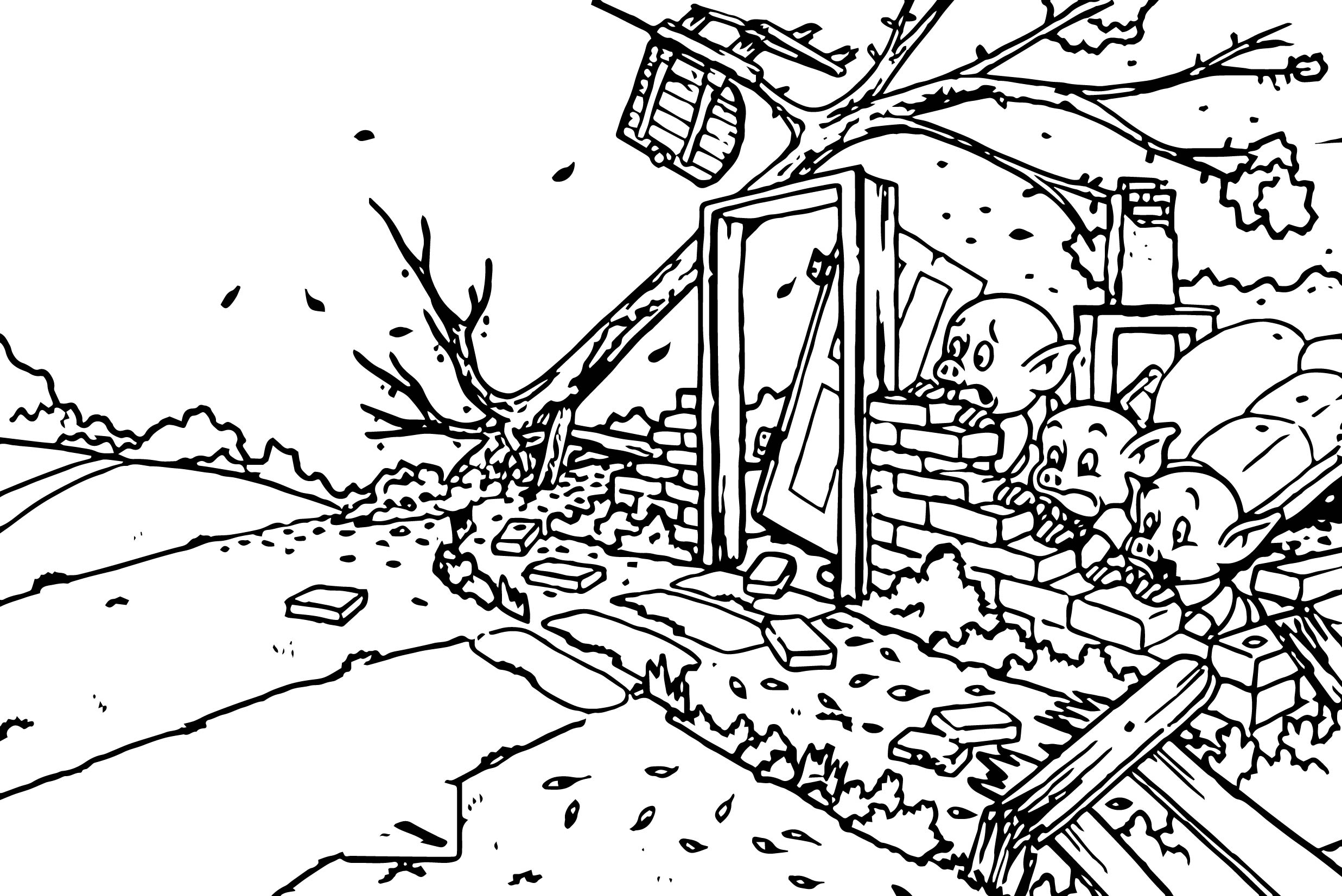 Stihl Chainsaws Three Little Pigs Small Coloring Page
