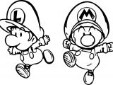 Super Mario And Luigi Mini Child Coloring Page