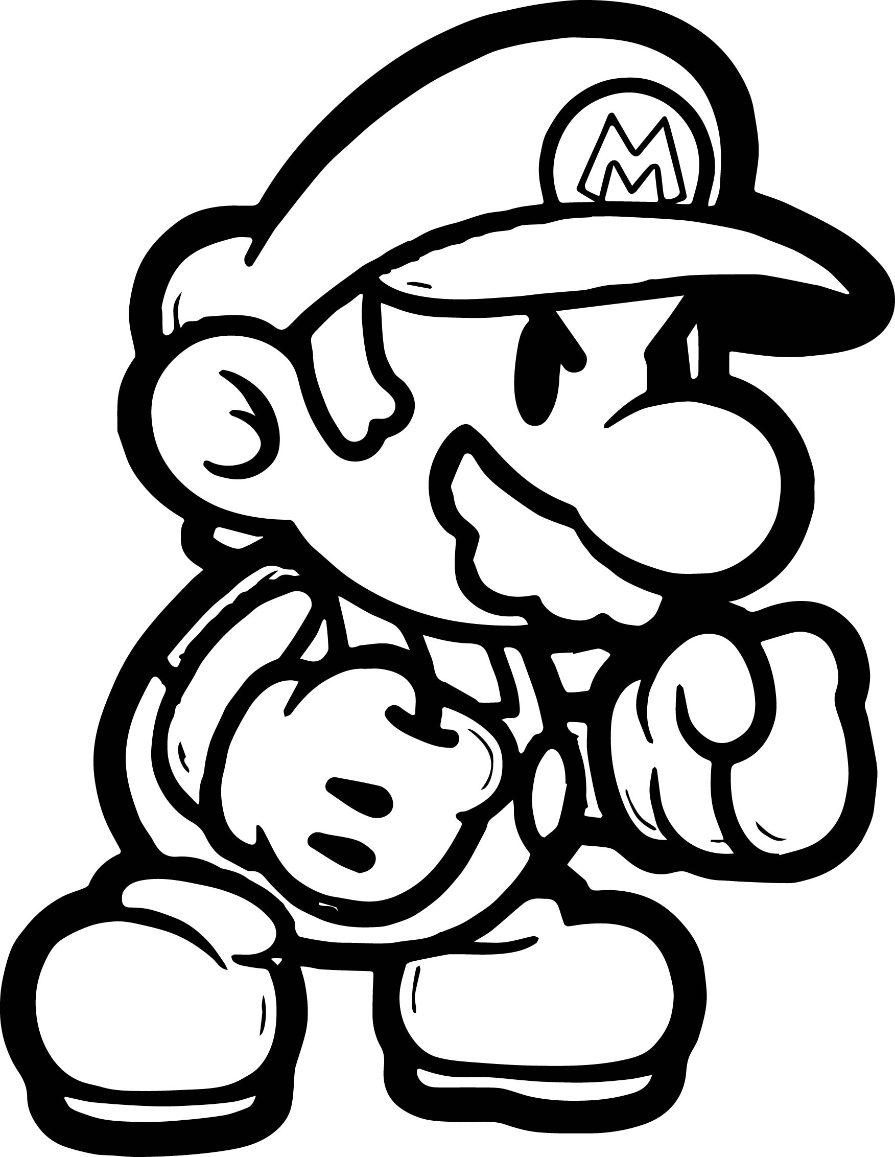 Super mario boxing coloring page for Mario color page