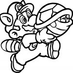 Super Mario Going With Turtle And Catch Him Coloring Page