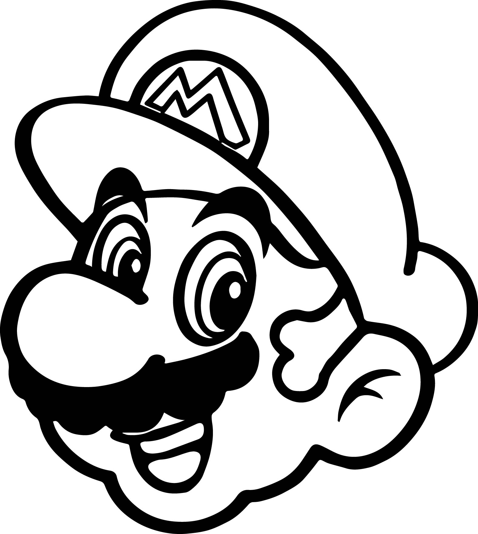 Super mario happy face coloring page for Mario color page