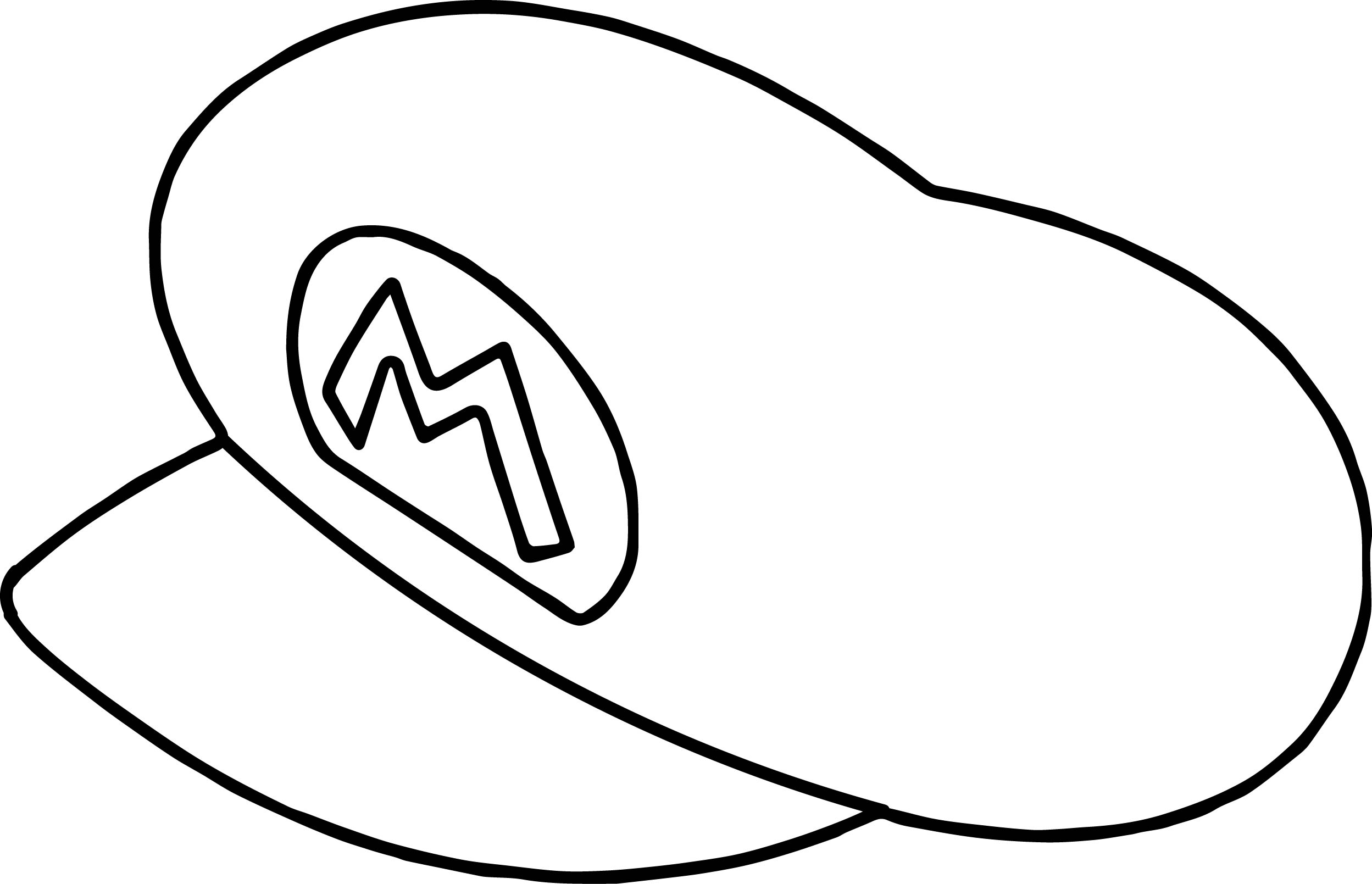 Super Mario Hat Outline Coloring Page