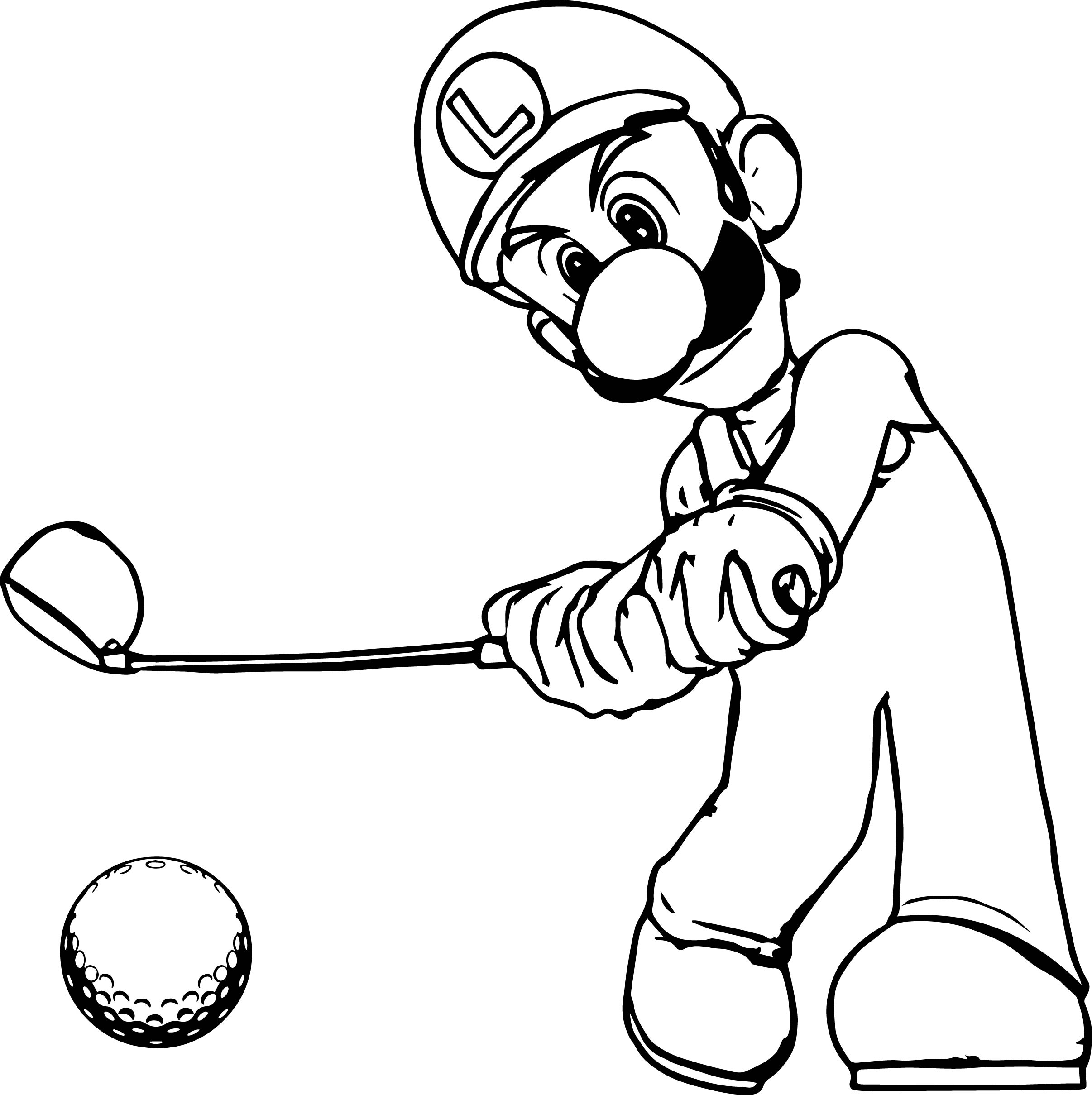 T ball coloring pages - Super Mario Luigi Golf Coloring Page