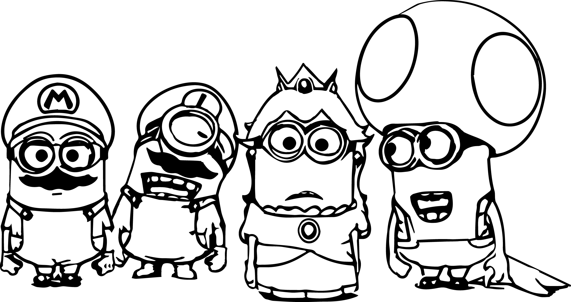 Super mario minions coloring page for Mario color page