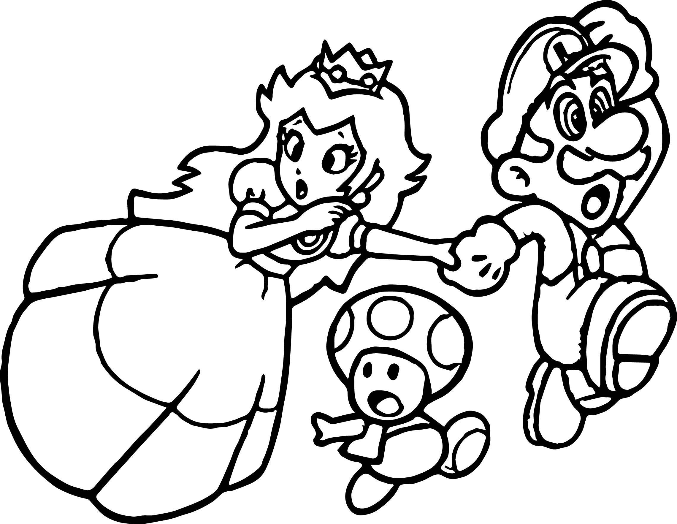 Super mario princess mushroom coloring page for Mario color page