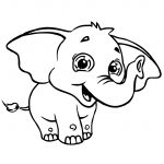 Sweety Elephant Coloring Page