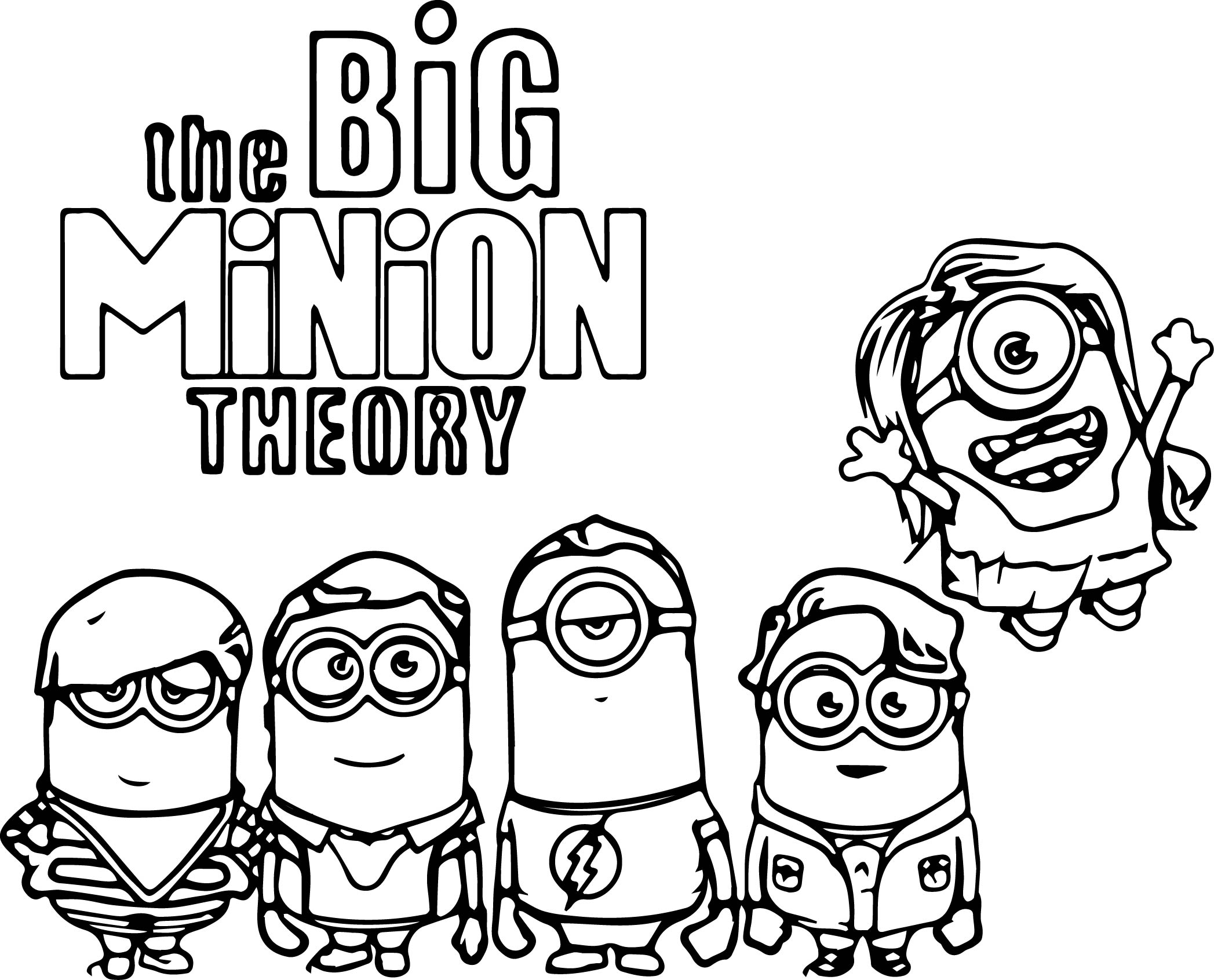 The Big Minion Theory Coloring Page