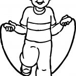 The Boy Is Jumping Rope Kids Coloring Page