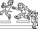 The Girl Is Trying To Catch The Child Kids Coloring Page