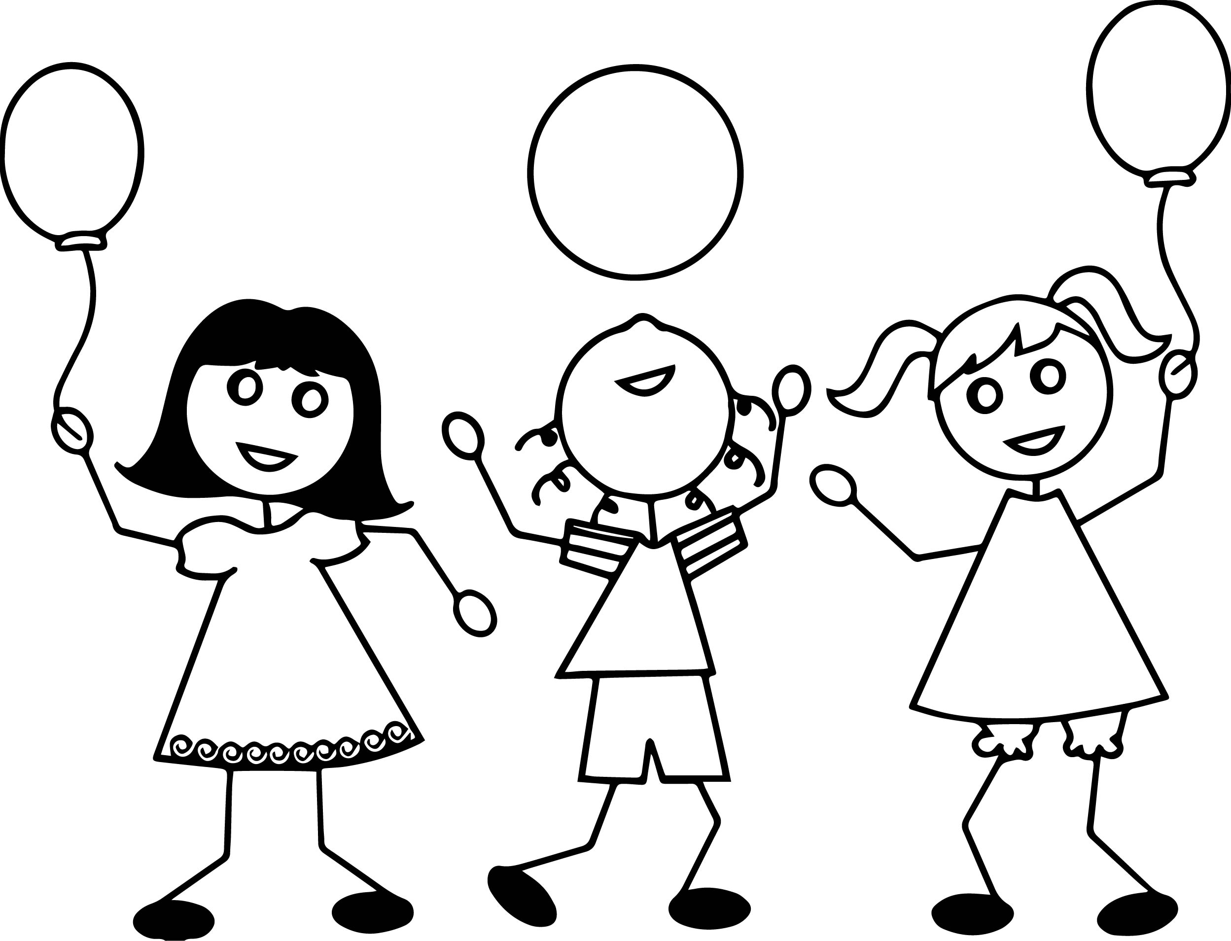 Three Kid Coloring Page