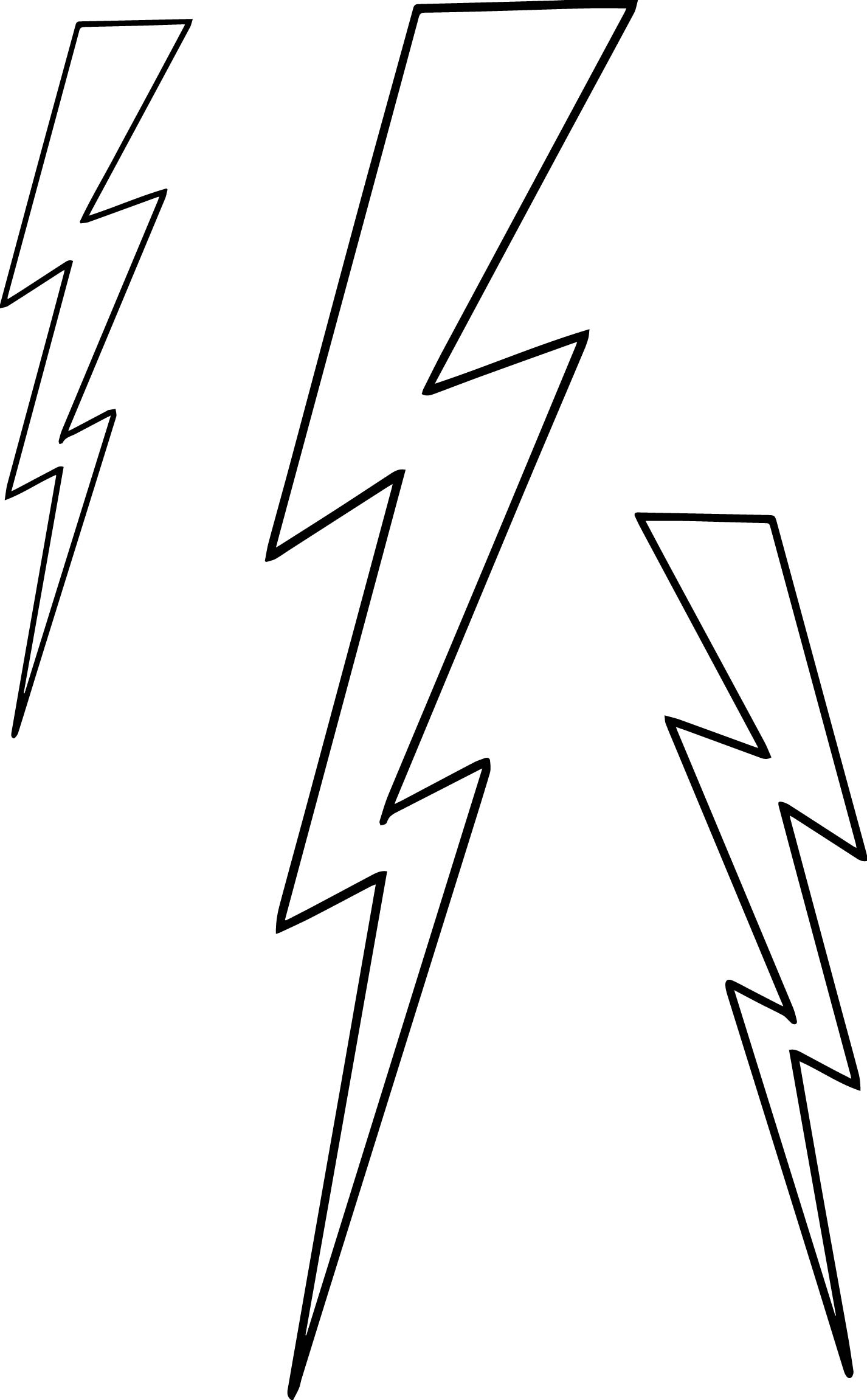 lightning bolt coloring pages | Three Lightningbolt Coloring Page | Wecoloringpage.com