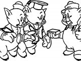 Three Little Pigs Christmas Coloring Page