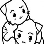 Two Cats In Love Anime Coloring Page