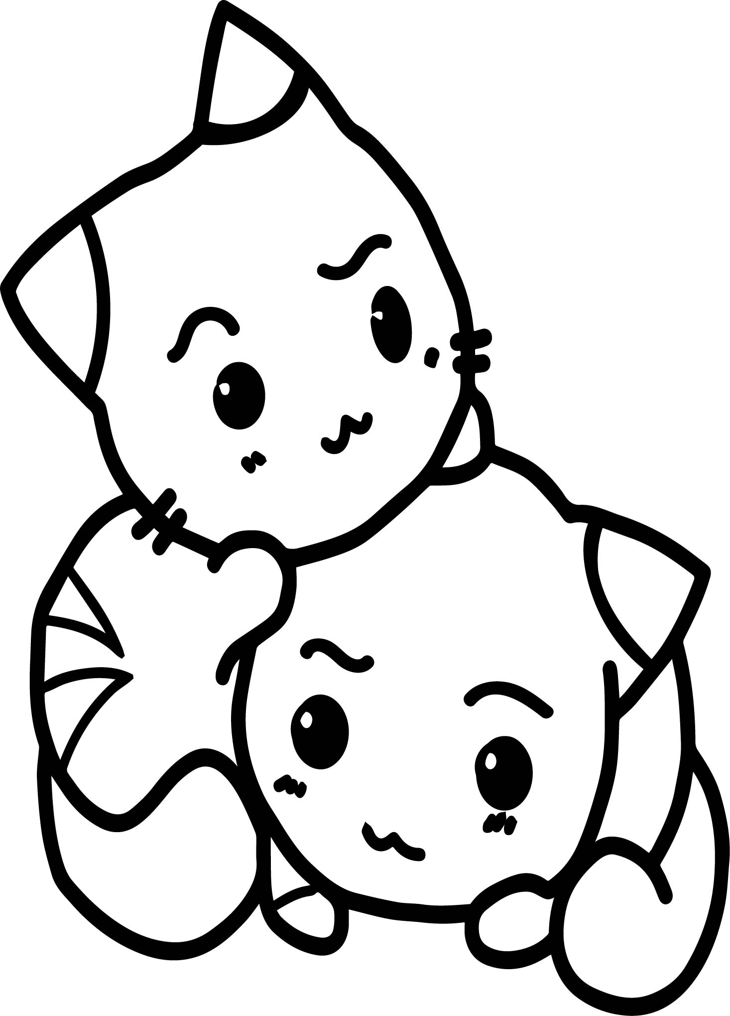 Anime kittens coloring pages ~ Two Cats In Love Anime Coloring Page | Wecoloringpage.com