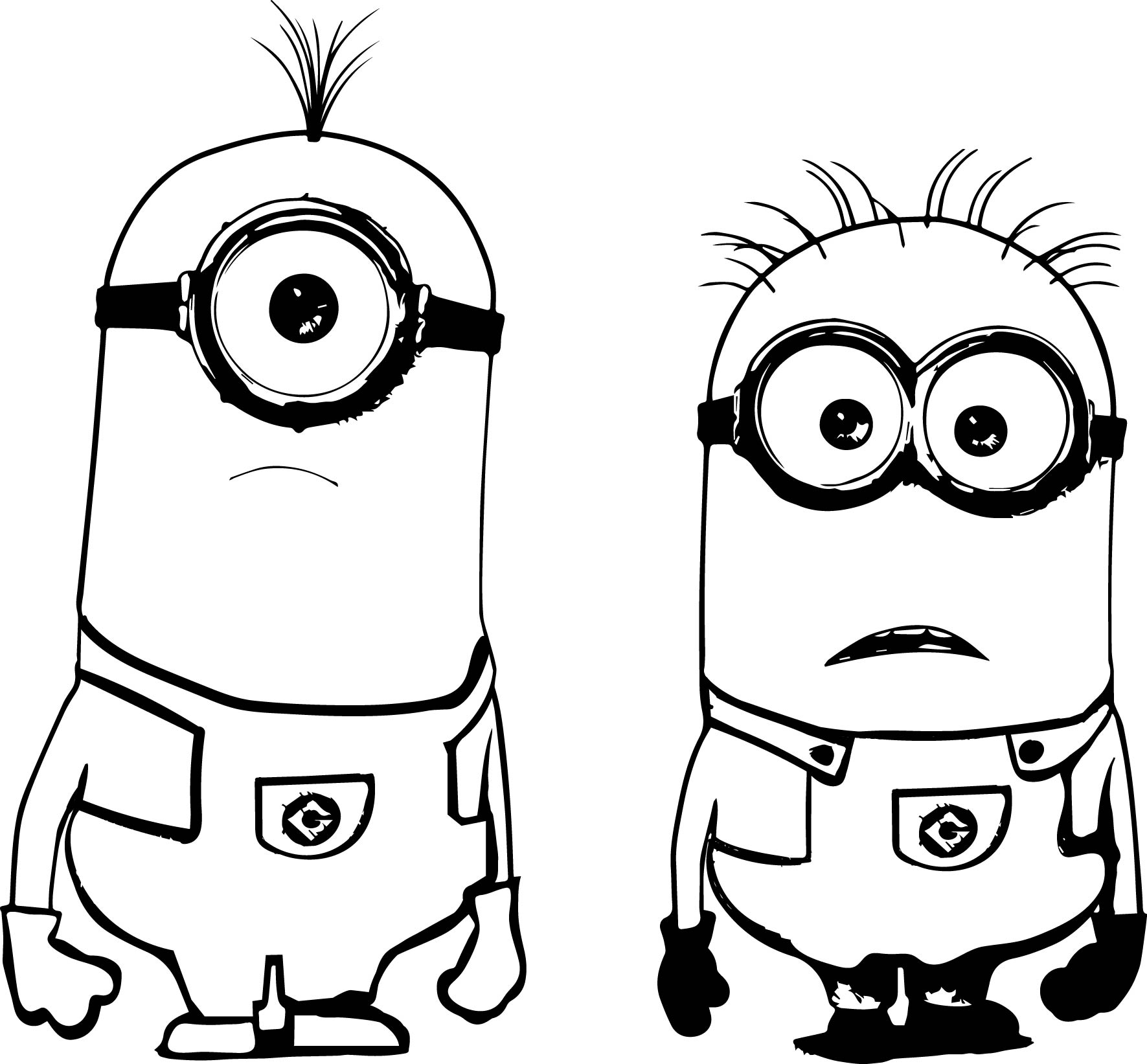 Two Minion Coloring Page