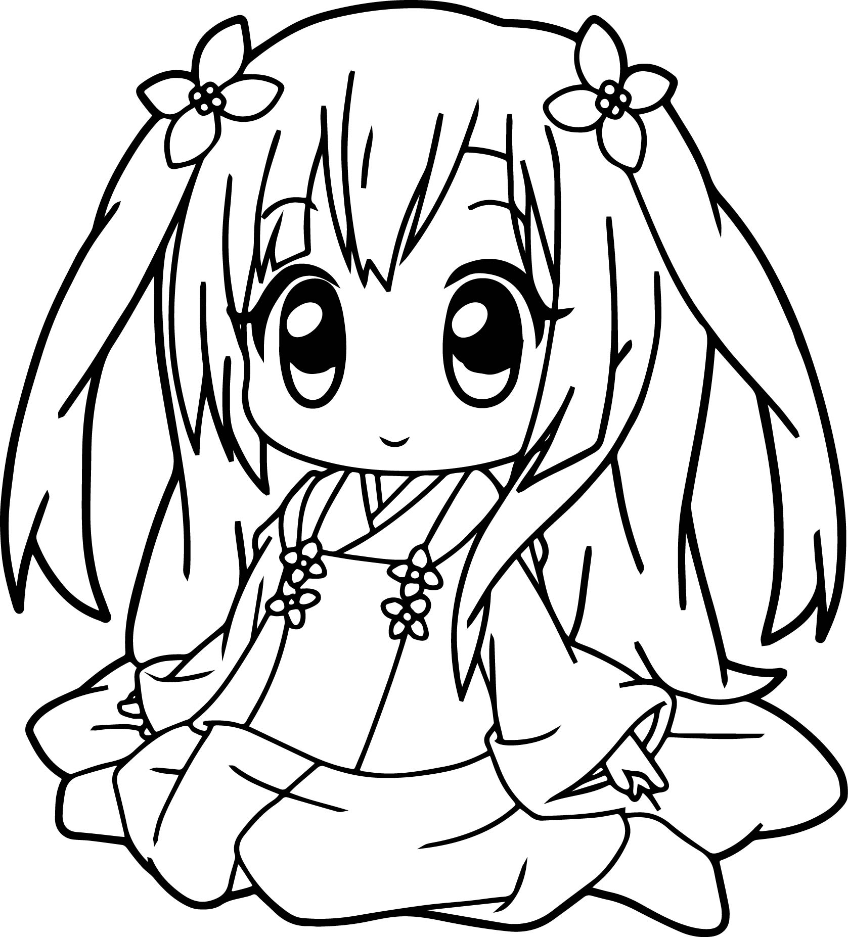 Very cute anime girl coloring page for Online anime coloring pages