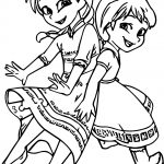 Very Cute Girls Anna Elsa Coloring Page