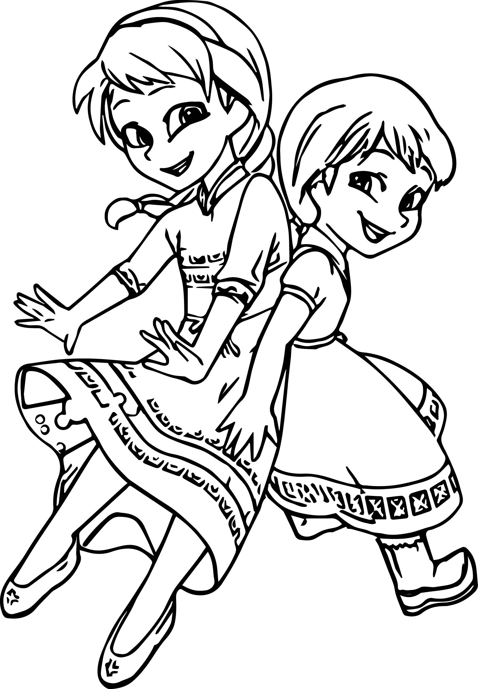 Anna And Elsa Coloring Pages Very Cute Girls Anna Elsa Coloring Page  Wecoloringpage
