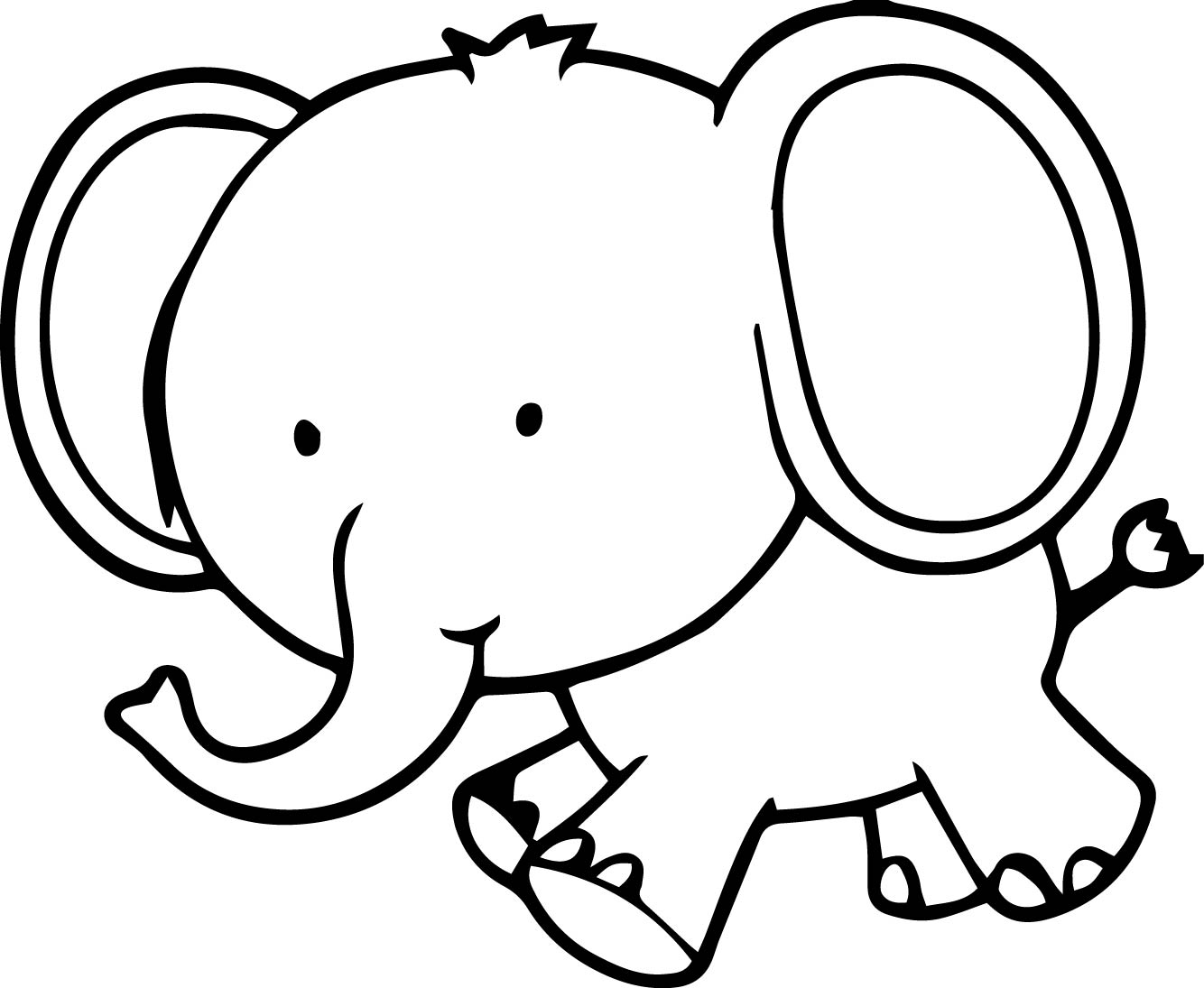 Very cute small elephant coloring page for Elephant coloring pages