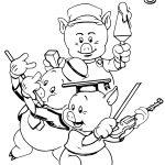 Walt Disney 3 Little Pigs Coloring Page