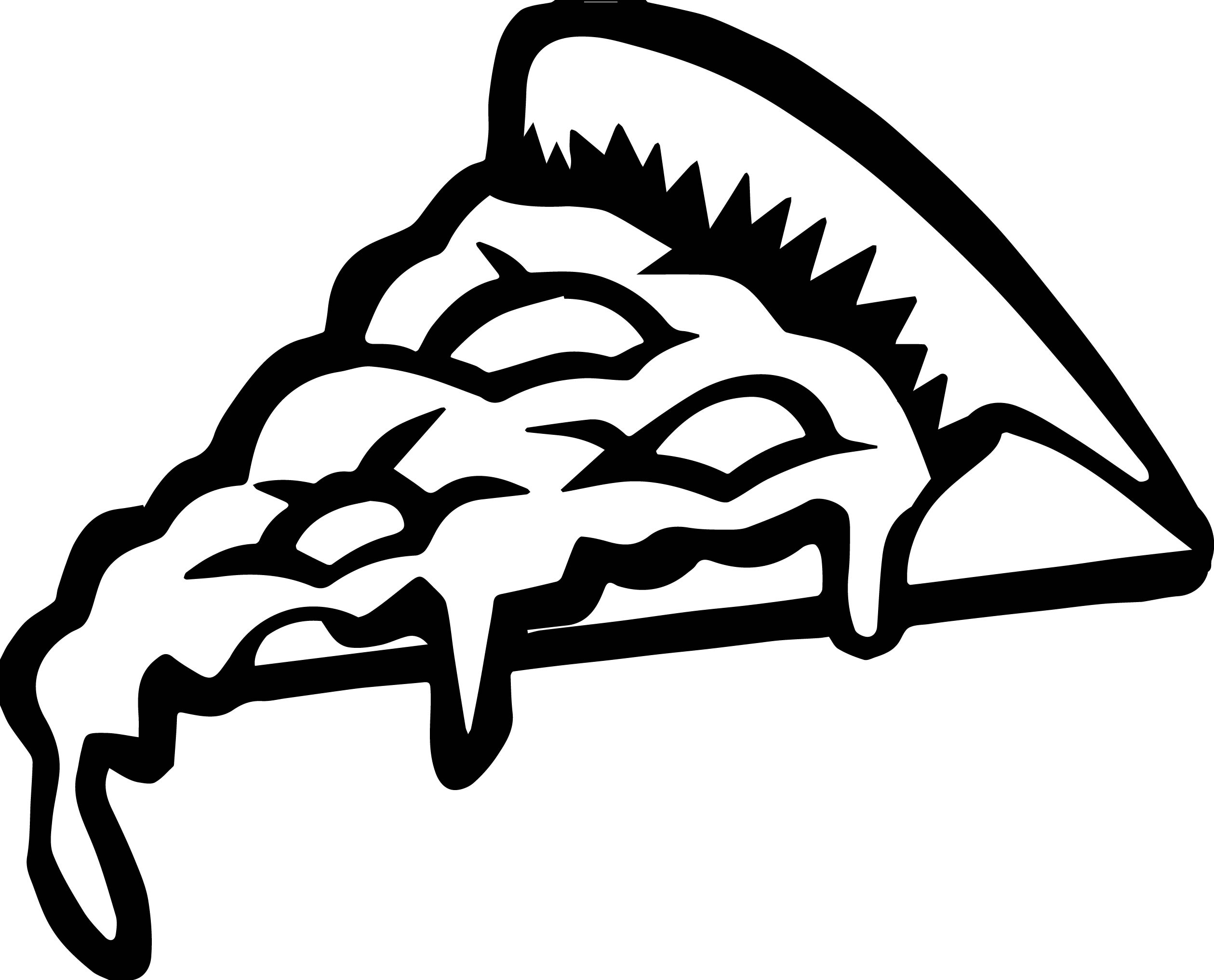 Whole Pizza Half Pizza Pizza Slice Dripping Cheese Coloring Page