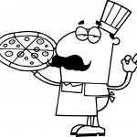 Whole Pizza Hispanic Chef With A Pizza Pie Coloring Page