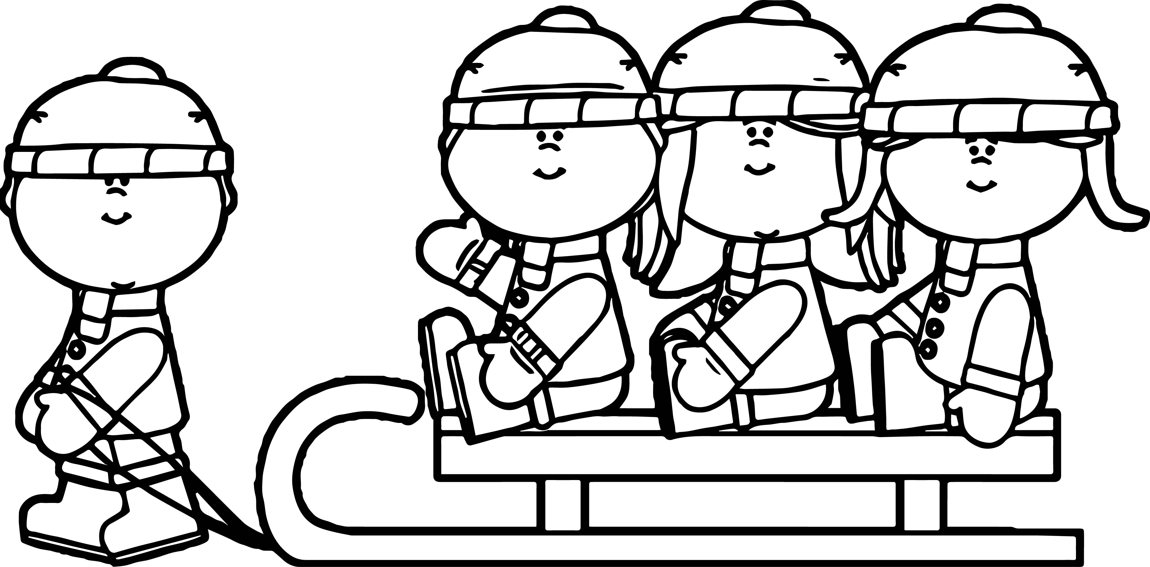 Winter kids on a sled coloring page for Sled coloring page