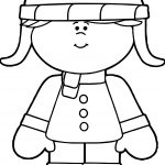 Winter Little Girl Dressed For Winter Coloring Page