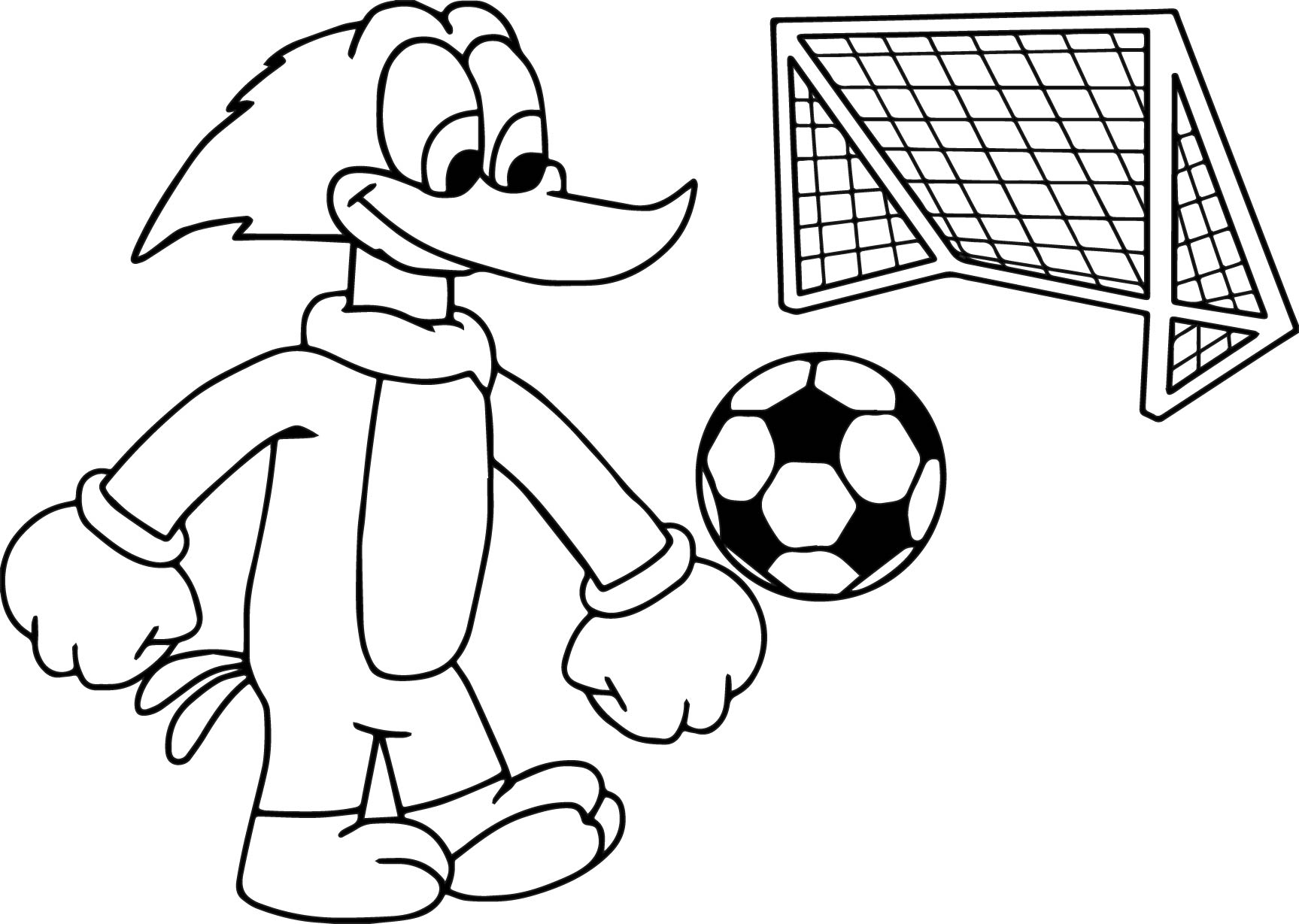 woody woodpacker play football soccer coloring page wecoloringpage
