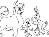 Woody Woodpecker Bugs Bunny Bull Coloring Page