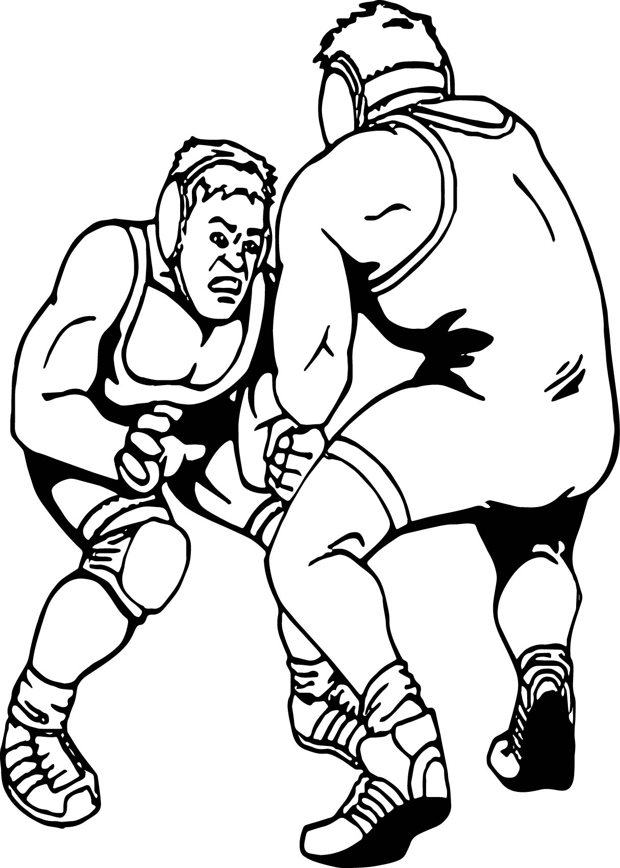 Wrestling Fight Coloring Page