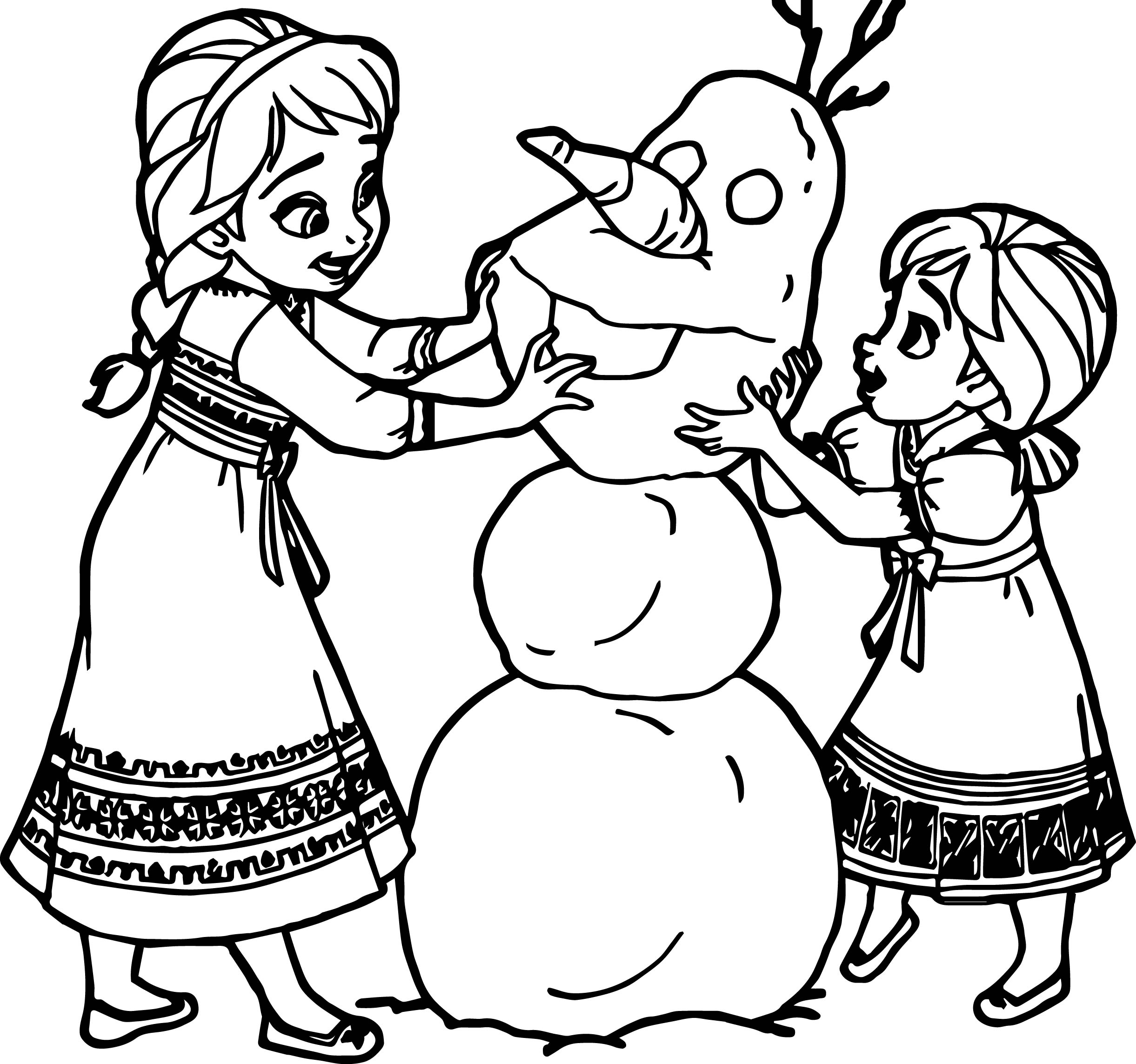 young anna elsa snow man coloring page - Elsa And Anna Coloring Pages