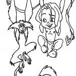 Young Tarzan And Monkey On Tree Coloring Pages