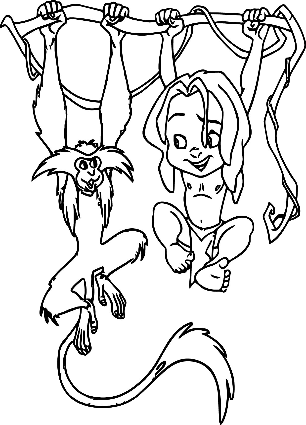 young tarzan and monkey on tree coloring pages | wecoloringpage - Coloring Pages Monkeys Trees
