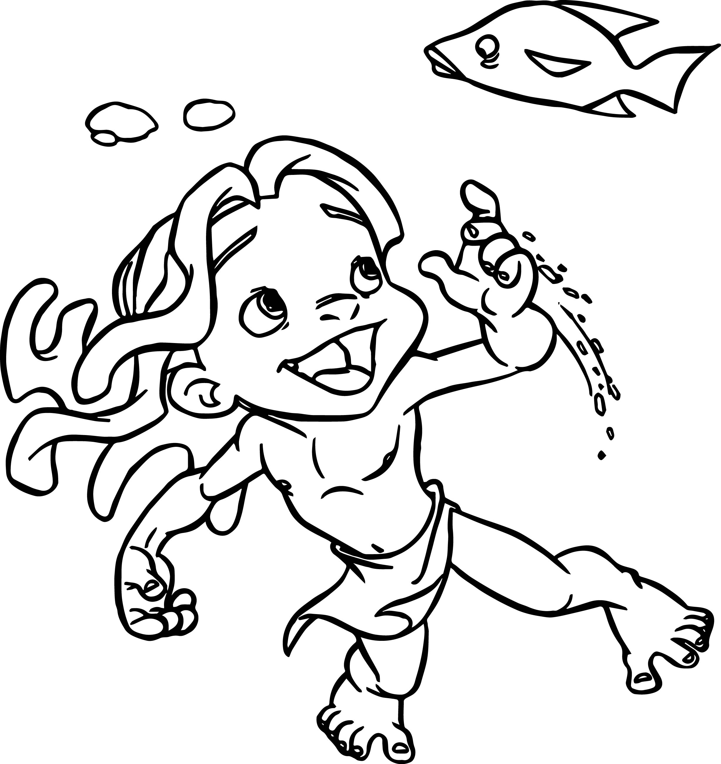 Young Tarzan In The Sea Coloring Page