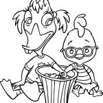 Abba Mallard And Little Chicken Cluck Eating Popcorn Coloring Pages