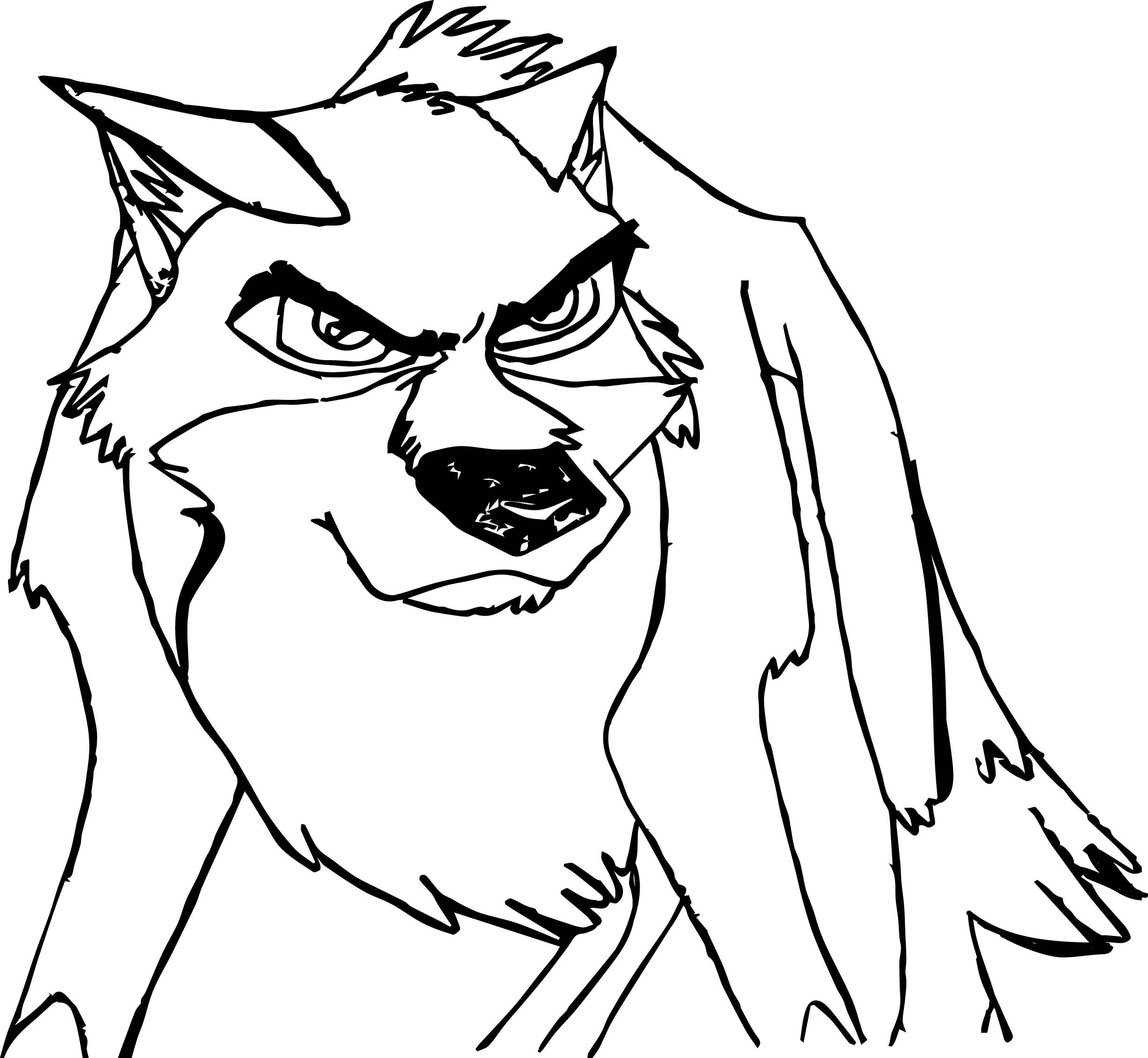 coloring page of wolf - angry balto wolf coloring page