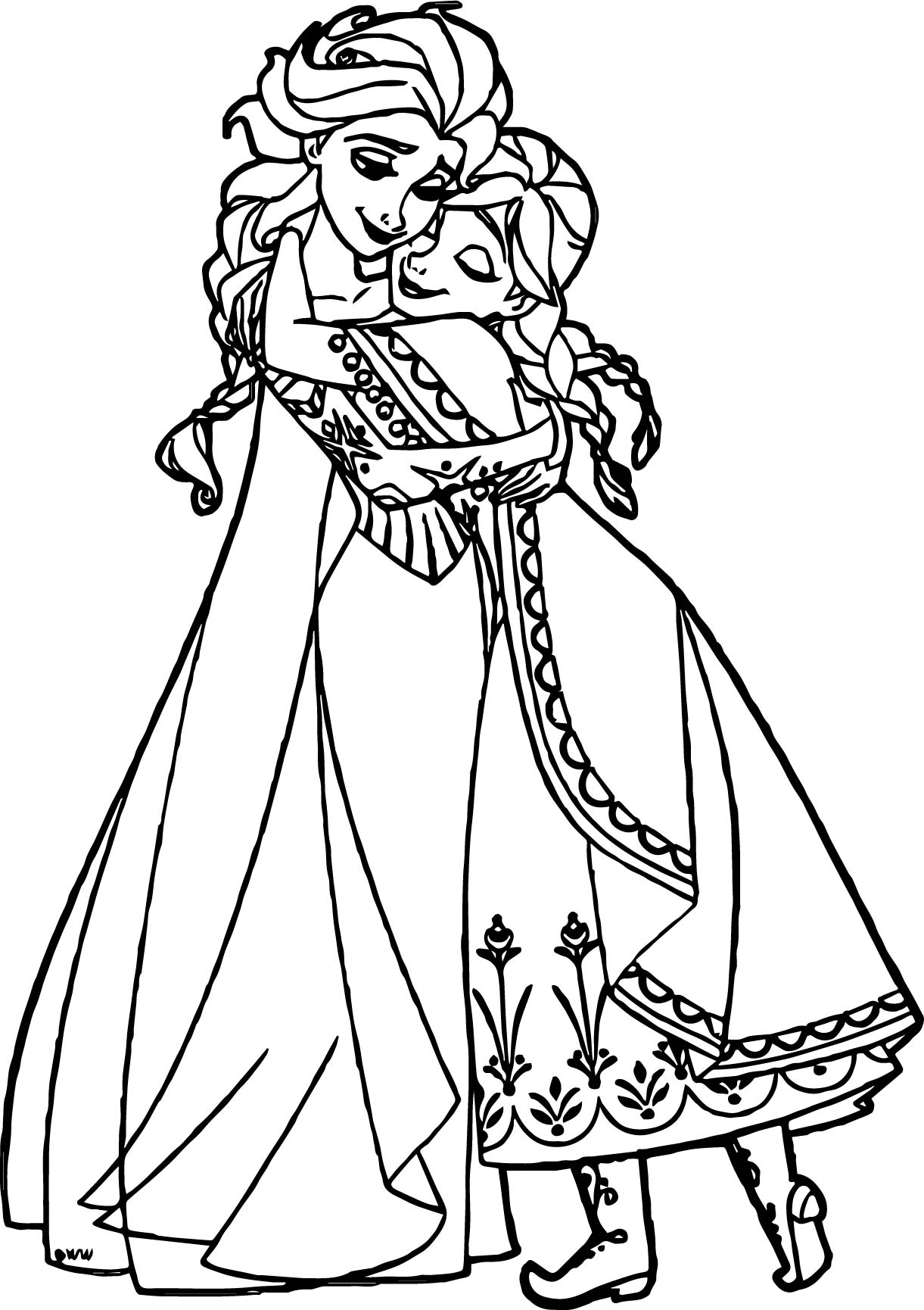 Anna elsa hugging coloring page for Coloring pages elsa