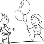Balloon Girl Funny Cartoon Pictures For Children Coloring Page