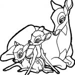 Bambi Mother Child Deers Coloring Pages