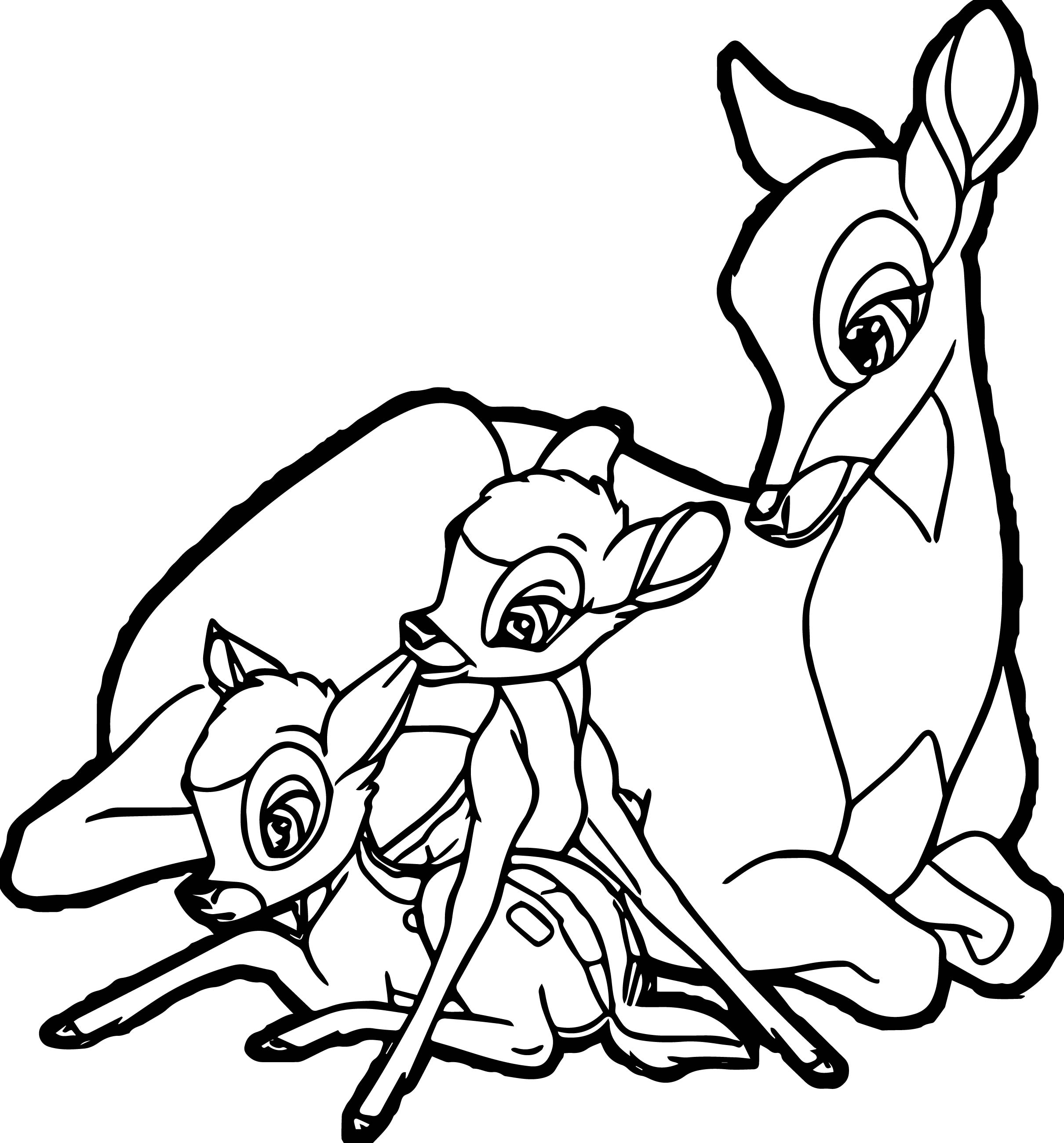 bambi mother child deers coloring pages wecoloringpage