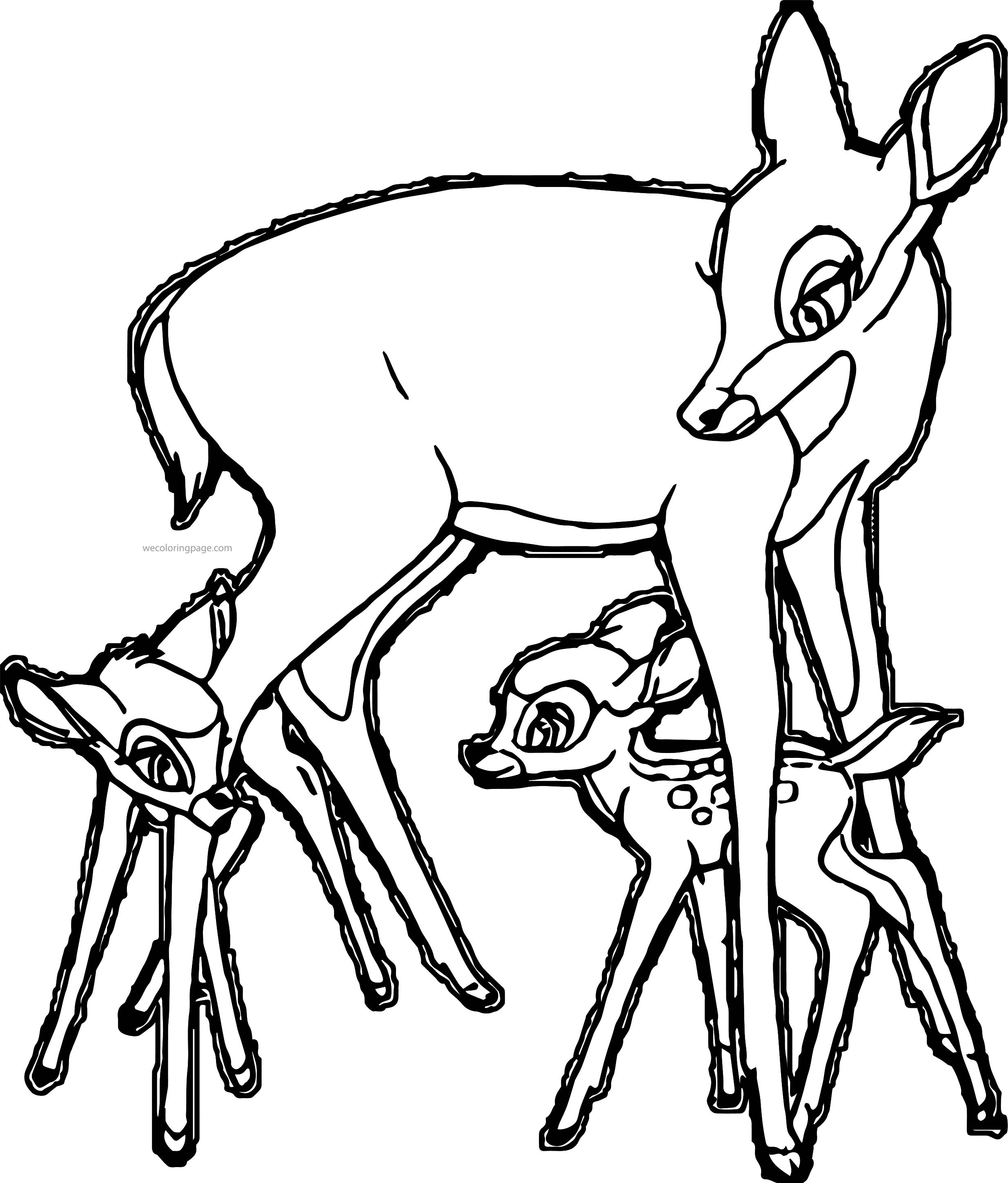 bambi mother child play coloring page wecoloringpage