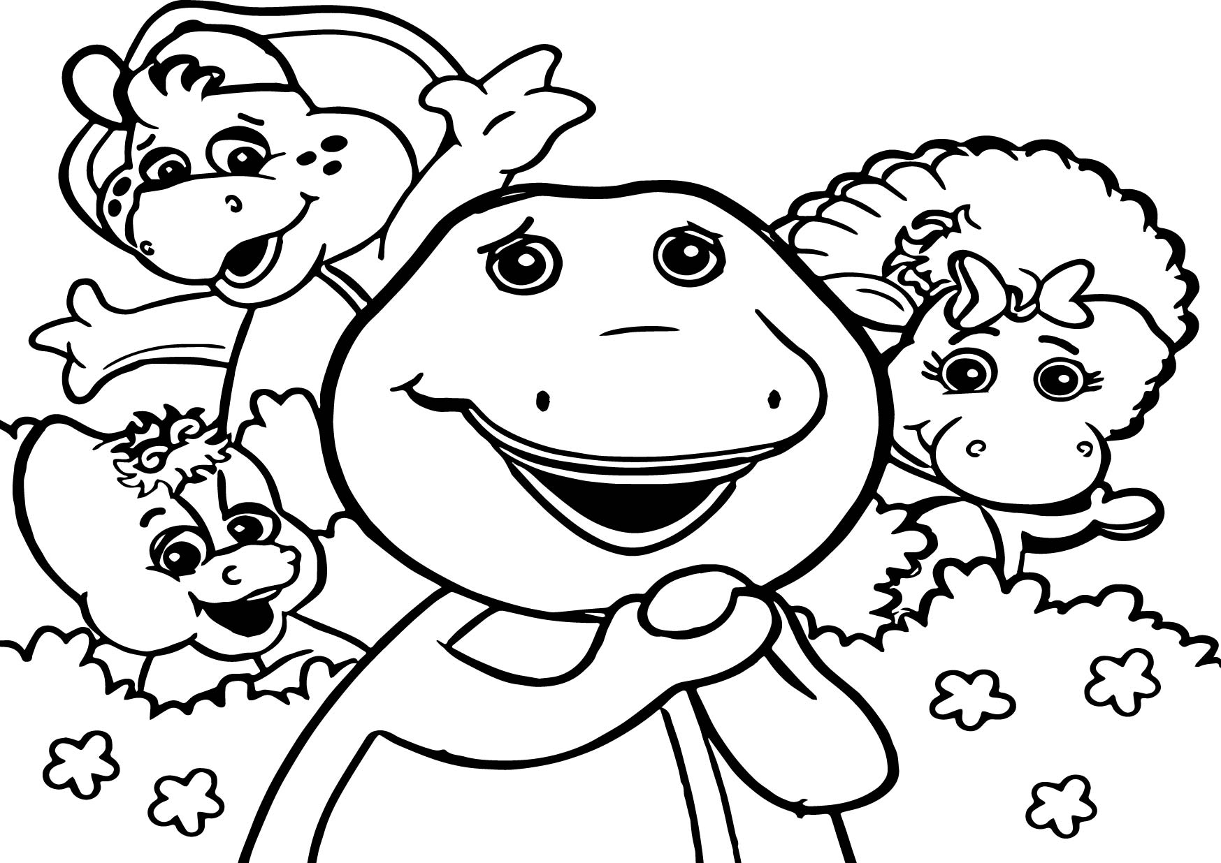 Barney Friends Coloring Page With Barney Color Pages Barney And Friends Coloring Pages