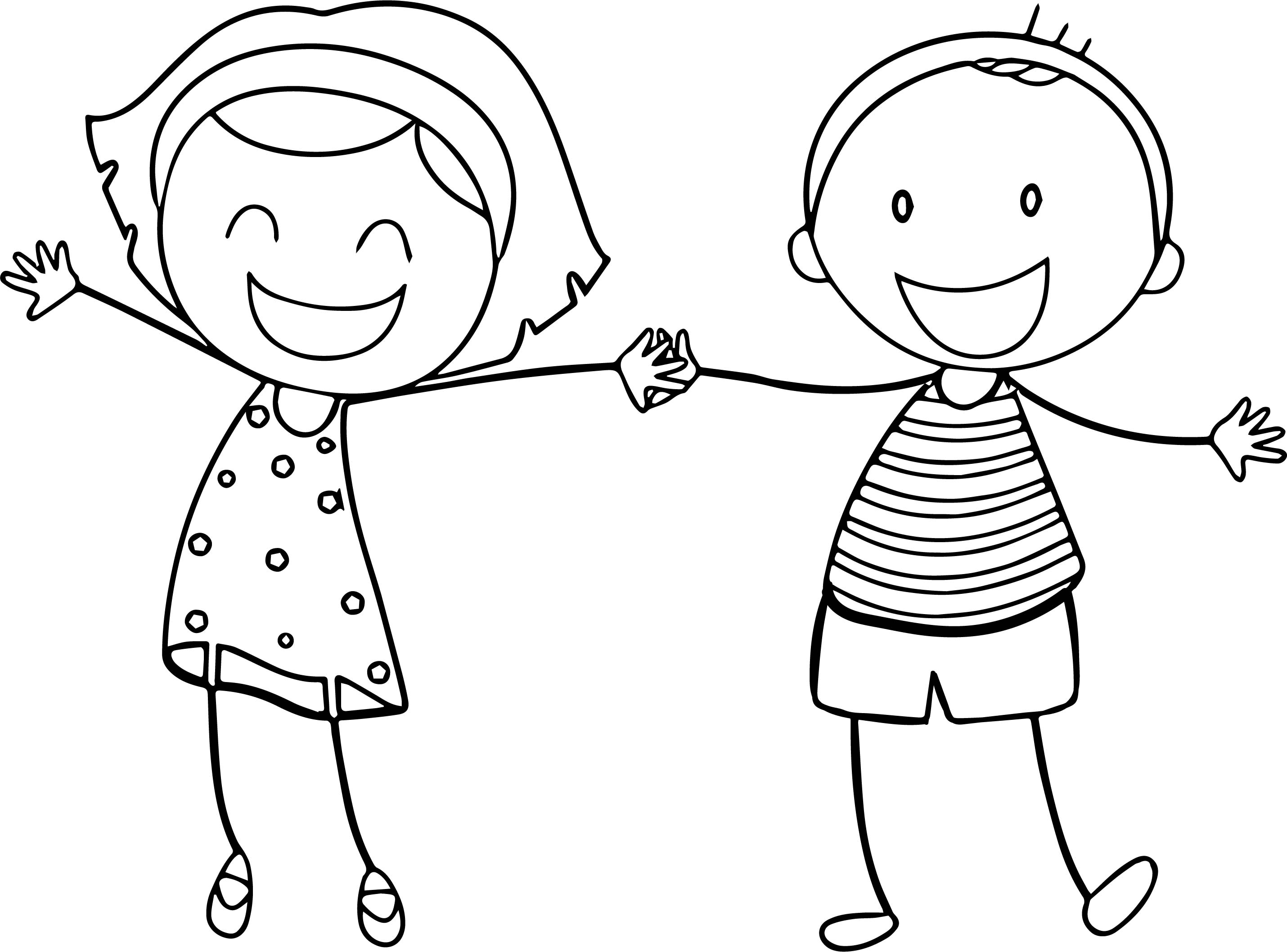 Basic funny boy girl coloring sheet printable free pages for Coloring pages girl and boy