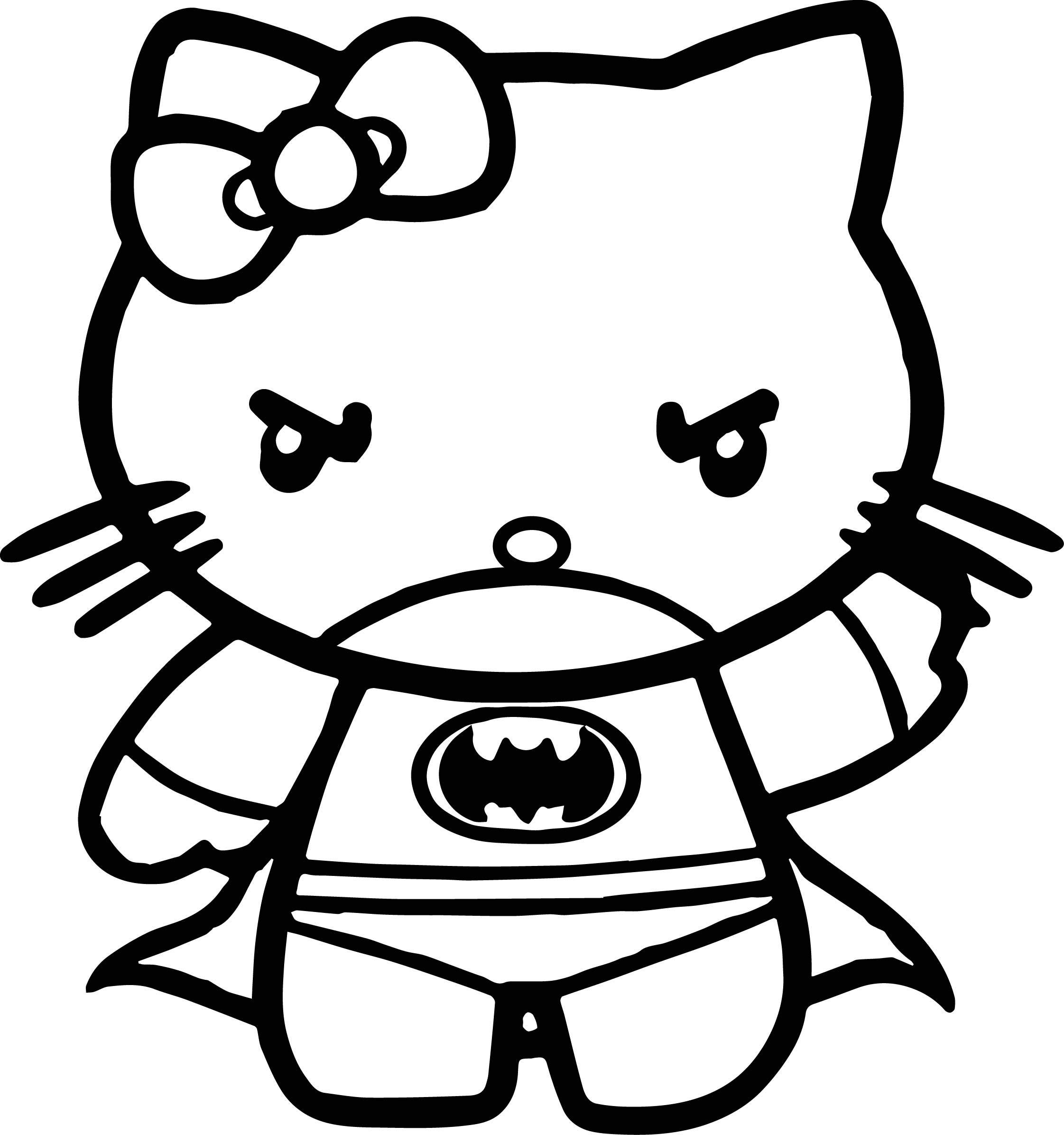 Bat Woman Hello Kitty Coloring Page